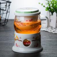 茶水壶 河间茶水分离加厚把手玻璃杯陶瓷内胆家用耐高温高硼硅玻璃圆趣杯加保温底座