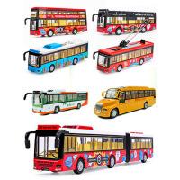 儿童公共汽车男孩合金玩具公交车双层巴士车模型声光回力大号
