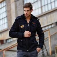 男式军迷风 棉大衣风衣夹克9935 加厚加绒外套 三色
