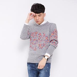 2017秋冬新款毛衣男青年韩版加厚时尚个性彩绳织带拼接套头针织衫