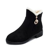 2019冬季新款女鞋绒面圆头人造短毛绒套筒雪地靴橡胶松糕底低跟 黑色厚绒 35 偏小一码