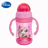 正品迪士尼tritan塑料杯 儿童翻盖学饮杯 小学生双手柄便携水杯