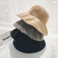 灯芯绒渔夫帽出游可折叠圆顶秋冬新款帽子百搭