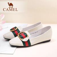 骆驼女鞋新款妈妈鞋百搭平底单鞋乖乖鞋真皮平跟浅口鞋子