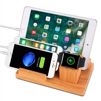 apple手机iwatch手表充电支架 iPad新款三合一华为手机充电器底座 木色