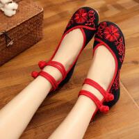 老北京布鞋女古风鞋子绣花鞋新款民族风北京布鞋女鞋内增高汉服鞋