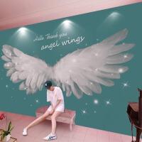 抖音直播墙壁纸北欧风墙纸壁画天使的翅膀直播间照相馆吧台3d5d科技馆背景墙壁纸 墙纸+专用胶水