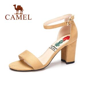 camel/骆驼女凉鞋 夏季新款中跟粗跟单鞋一字扣时尚气质露趾高跟鞋女
