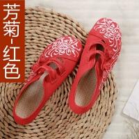 女土老北京布鞋女绣花鞋春秋季单鞋软底坡跟古风鞋子女汉服鞋