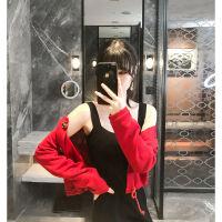 针织开衫外套女2019韩版红色毛衣外搭早秋女装上衣长袖打底衫 浪漫红 均码