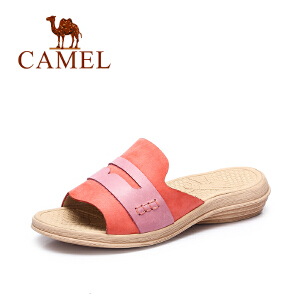 Camel/骆驼女鞋 夏季新品沙滩居家休闲拖鞋女 撞色甜美坡跟拖鞋