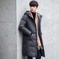 战地吉普男装羽绒服新款帅气修身加厚冬装过膝白鸭绒韩版潮流长款外套