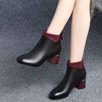 【软皮】短靴女粗跟靴子中跟女靴2019秋冬新款高跟女鞋 黑色1 【加绒】
