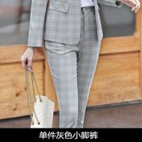 格子西装外套女春秋装韩版女士职业装套装休闲网红小西服套装