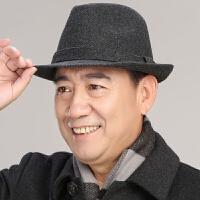 中老年帽子男士秋冬天礼帽羊毛呢礼帽男英伦爵士帽中年人爸爸帽子