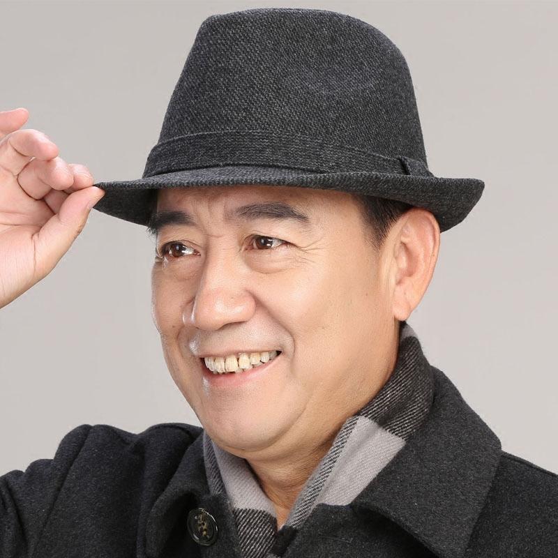 中老年帽子男士秋冬天礼帽羊毛呢礼帽男英伦爵士帽中年人爸爸帽子 有型坚挺 经典时尚 呢子面料 老人潮帽