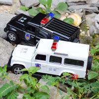 仿真路虎卫士警车合金模型 儿童声光回力玩具汽车