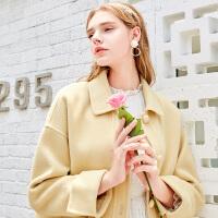 【大牌联合 到手价:289 元】三彩2019冬季新款娃娃领单排扣鹅黄色短款羊毛呢大衣双面呢外套女