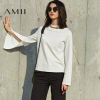 AMII[极简主义]秋新款不规则撞色条纹修身套头毛衣女11682581