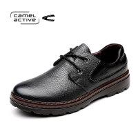 Camel Active/骆驼动感男鞋真皮百搭户外牛皮鞋子系带黑色大码鞋