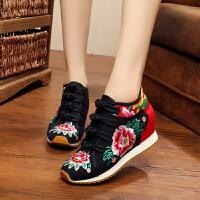 民族风高跟绣花鞋老北京女士布鞋内增高帆布休闲鞋旅游鞋舞蹈鞋潮