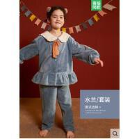 秋冬珊瑚绒女童亲子套装加绒加厚家居服中大童儿童睡衣女孩