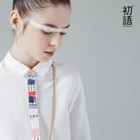 初语春季新款 织带民族风翻领长袖宽松白衬衫 8710212012