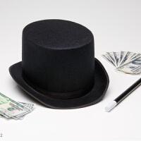 黑色魔术师帽子 魔术帽礼帽 高礼帽爵士帽万圣节道具 高16CM (大号)