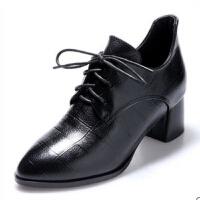 高跟鞋2019春新款小皮鞋女系带尖头中跟单鞋女粗跟黑色百搭工作鞋 黑色