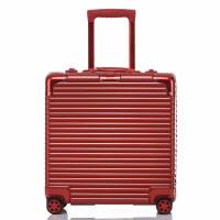 铝框拉杆箱电脑登机箱万向轮18寸小型行李箱方形迷你商务旅行箱女 18寸