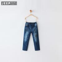 JEEP/吉普童装 女童休闲牛仔裤软中大儿童纯棉长裤子2017冬新款