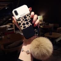 豹纹毛绒球xsmax苹果x手机壳7plus硅胶iphone6s挂绳8plus新款xr女 6/6s 4.7寸 三拼豹纹