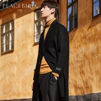 太平鸟男装呢大衣 中长款男羊毛大衣双面呢大衣冬季韩版修身外套