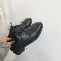 英伦风女鞋2019春秋新款黑色系带学院小皮鞋女平底圆头低跟单鞋女 黑色