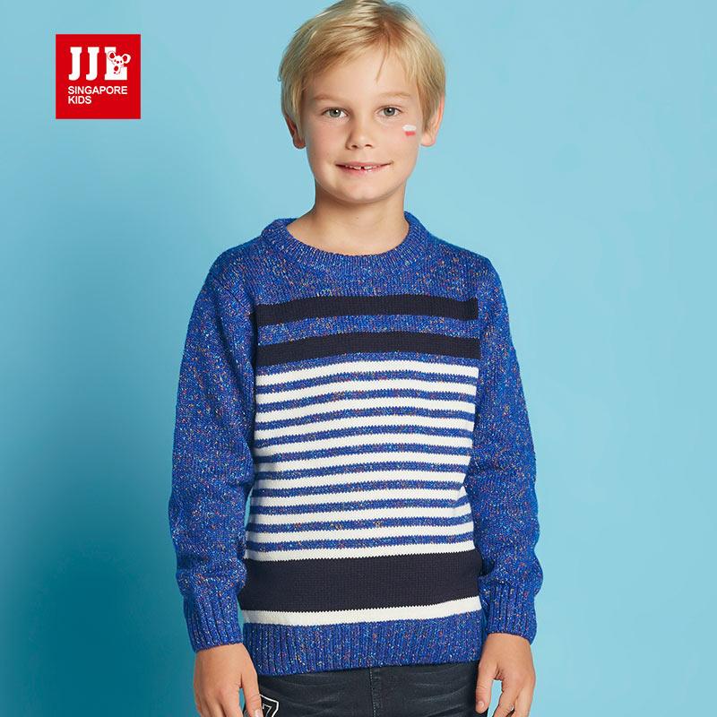 jjlkids季季乐2017春秋新款条纹男童针织衫中大童圆领毛衣BQM61135专柜同款