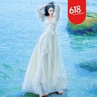 原创早秋草原旅拍度假仙女裙立体蝴蝶刺绣蕾丝镂空吊带两件套连衣裙GH04