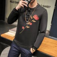 18春装新品中国风刺绣男套头卫衣时尚青年韩版盘扣男装加大码上衣