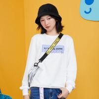 2019秋季字母印花圆领套头休闲卫衣时尚百搭韩版女士上衣