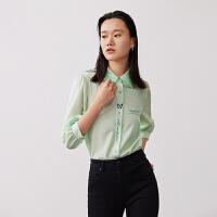 LILY2021夏新款女装设计感立体蝴蝶领定位印花七分袖泡泡袖衬衫301