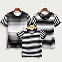 亲子装夏装一家三口母女装全家装半袖春装2018新款潮条纹短袖T恤
