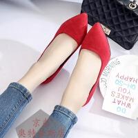 2019春秋季性感女高跟鞋细跟尖头绒面单鞋黑色职业鞋甜美淑女鞋子学生鞋少女鞋工作鞋百搭女鞋
