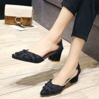 鞋子女学生韩版高跟鞋女粗跟2019春秋新款尖头流苏中跟仙女单鞋女 黑色 5cm 35 标准