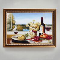 欧式油画手绘餐厅装饰画现代简约玄关定制壁画北欧客厅挂画花卉画 连外框尺寸90*120cm 单幅