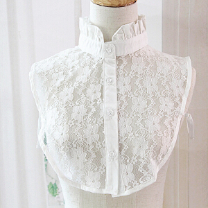 货到付款 Yinbeler 韩版衬衫领子白底女士百搭时尚白领上领百褶可爱蕾丝假领衣领