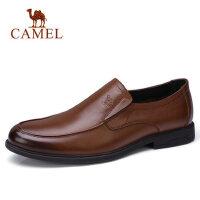 camel 骆驼男鞋2018春季新款商务正装皮鞋男牛皮乐福鞋套脚皮鞋男