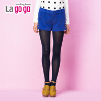 【618大促-每满100减50】lagogo拉谷谷新款宝蓝高腰加厚毛呢冬季女装短裤