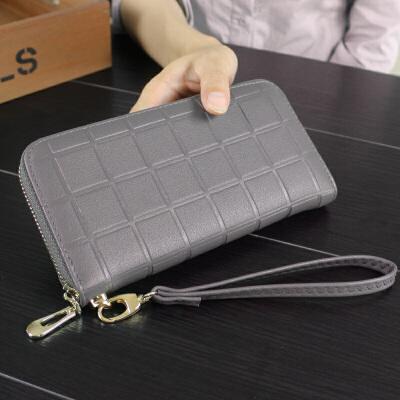 女士零钱包秋新款菱格女士钱包韩版长款拉链包压花男式手拿包手机包皮夹
