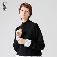 初语2017冬季新品 小高领套头衬衫毛衣假两件套女宽松毛针织衫