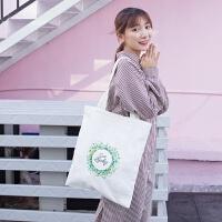 氧气种子 自制款 日韩清新少女风幸运草单肩纯棉帆布包袋2018新款 白色