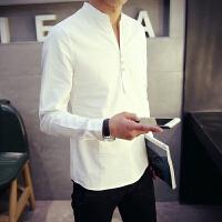 春季男士长袖衬衫男潮流纯色休闲中国风男装立领白衬衣男打底寸衫